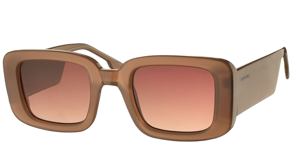 Ανδρικά και γυναικεία τετράγωνα κοκάλινα γυαλιά ηλίου Komono Avery Sahara σε μπεζ σκελετό και καφέ ντεγκραντέ φακούς για όλα τα πρόσωπα.