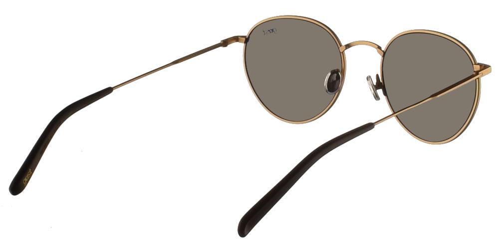 Χειροποίητα μεταλλικά στρογγυλά ανδρικά και γυναικεία γυαλιά ηλίου Gast Corporate Gold σε χρυσό ματ χρώμα και επίπεδους γρι φακούςγια όλα τα πρόσωπα.