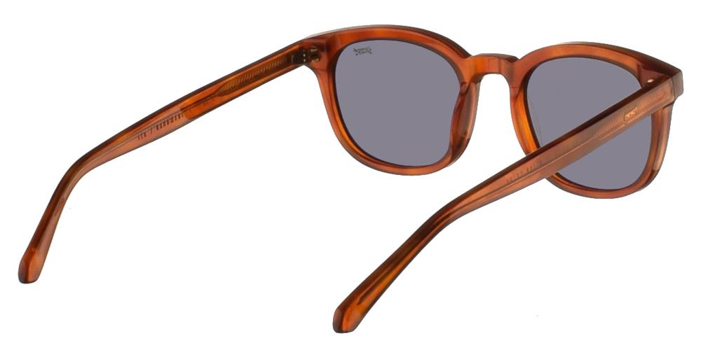 Χειροποίητα κοκάλινα τετράγωνα ανδρικά και γυναικεία γυαλιά ηλίου Gast Fed Havana σε ανοιχτόχρωμη ταρταρούγα και επίπεδους πράσινους φακούς.