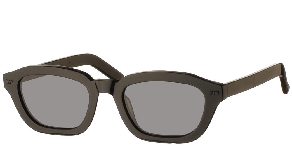 Χειροποίητα κοκάλινα τετράγωνα ανδρικά και γυναικεία γυαλιά ηλίου Gast Fen Black σε μαύρο σκελετό και επίπεδους φκρι φακούςγια όλα τα πρόσωπα.