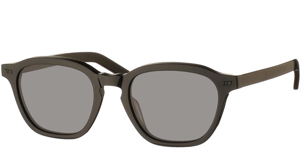 Χειροποίητα κοκάλινα τετράγωνα ανδρικά και γυναικεία γυαλιά ηλίου Gast Galit Black σε μαύρο σκελετό και επίπεδους γκρι φακούςγια όλα τα πρόσωπα.