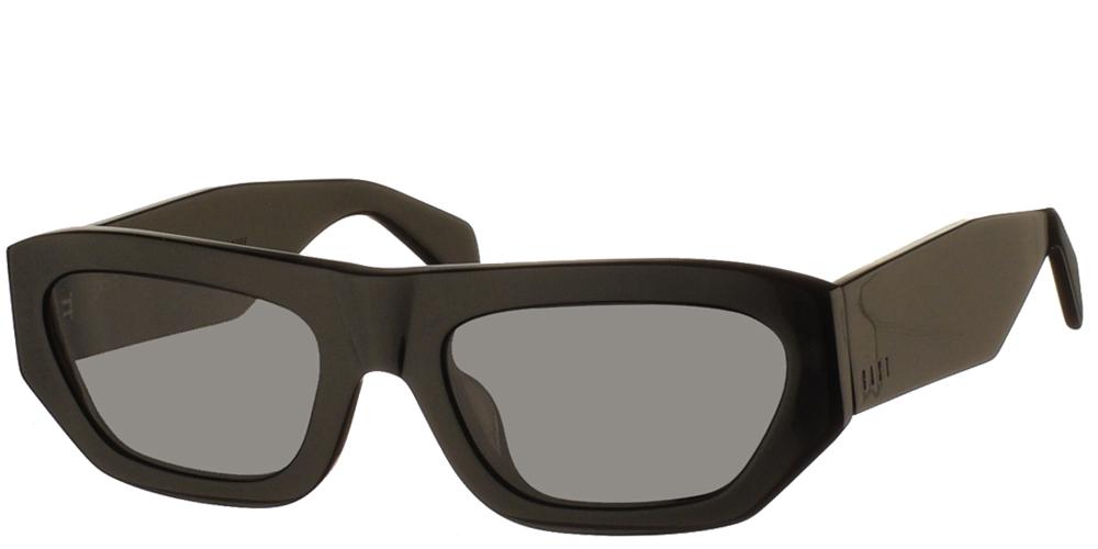Χειροποίητα κοκάλινα ανδρικά και γυναικεία γυαλιά ηλίου Gast Logobillia Black σε μαύρο σκελετό και επίπεδους γκρι φακούςγια όλα τα πρόσωπα.