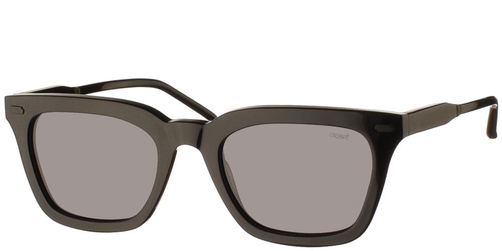 Χειροποίητα κοκάλινα τετράγωνα ανδρικά και γυναικεία γυαλιά ηλίου Gast Rello Black σε μαύρο σκελετό και επίπεδους γκρι φακούςγια όλα τα πρόσωπα.