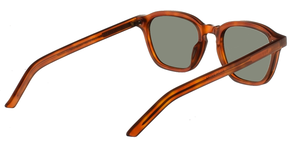 Χειροποίητα κοκάλινα τετράγωνα ανδρικά και γυναικεία γυαλιά ηλίου Gast Galit Havana σε ανοιχτόχρωμη ταρταρούγα και επίπεδους πράσινους φακούς.