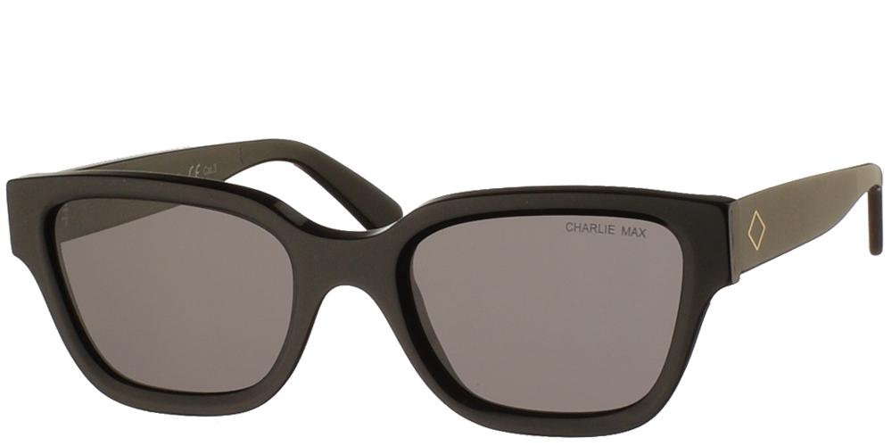 Χειροποίητα κοκάλινα ανδρικά και γυναικεία γυαλιά ηλίου Charlie Max Spartaco N1-N43 σε μαύρο σκελετό και γκρι φακούςγια όλα τα πρόσωπα.