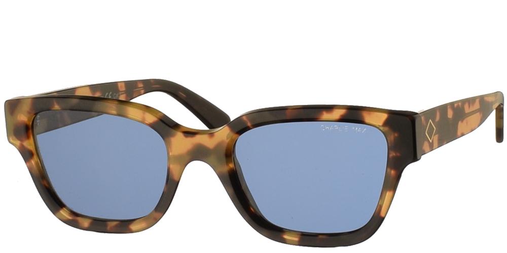 Χειροποίητα κοκάλινα ανδρικά και γυναικεία γυαλιά ηλίου Charlie Max Spartaco H1-B43 σε ανοιχτόχρωμη ταρταρούγα και μπλε φακούςγια όλα τα πρόσωπα.