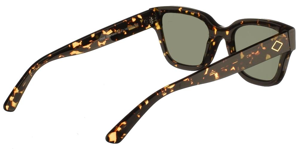 Χειροποίητα κοκάλινα ανδρικά και γυναικεία γυαλιά ηλίου Charlie Max Spartaco H6-G43 σε σκουρόχρωμη καφέ ταρταρούγα και σκούρους πράσινους φακούς.