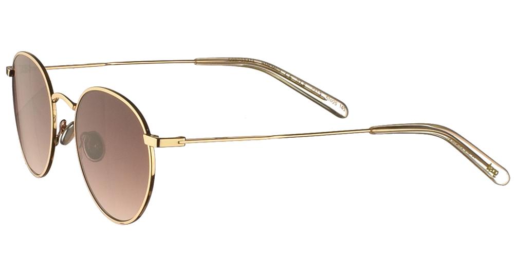 Χειροποίητα μεταλλικά unisex στρογγυλά γυαλιά ηλίου Gast Corporate Shiny Gold σε χρυσό χρώμα και επίπεδους καφέ ντεγκραντέ φακούςγια όλα τα πρόσωπα.