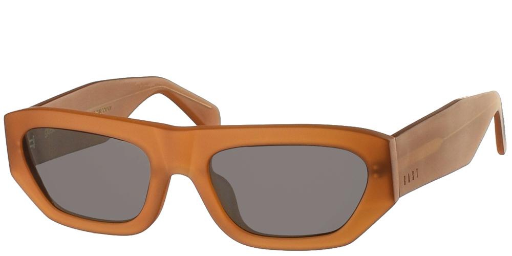 Χειροποίητα κοκάλινα ανδρικά και γυναικεία γυαλιά ηλίου Gast Logobillia Matte Amber σε καφέ ματ σκελετό και επίπεδους γκρι φακούςγια όλα τα πρόσωπα.