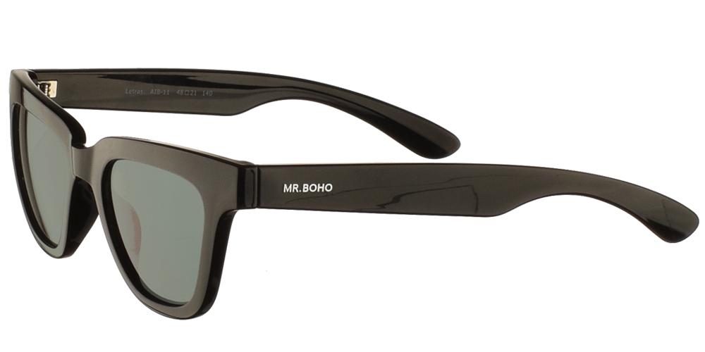 Τετράγωνα κοκάλινα ανδρικά και γυναικεία γυαλιά ηλίου Mr Boho Letras AIB-11 σε μαύρο σκελετό και σκούρους πράσινους φακούςγια μικρά και μεσαία πρόσωπα.