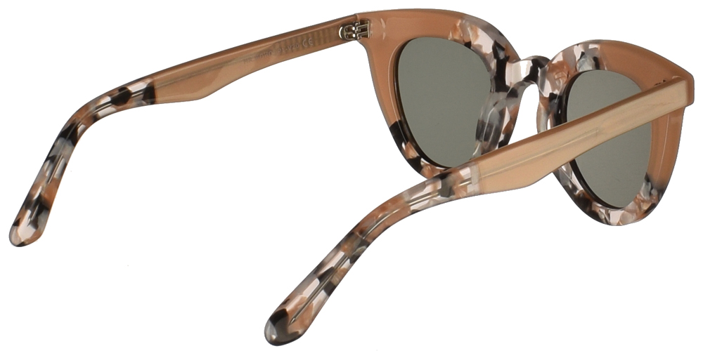 Γυναικεία κοκάλινα γυαλιά ηλίου πεταλούδα Mr Boho Hayes VG21-11 σε μπεζ-ροζ χρώμα, με πολύχρωμες λεπτομέρειες και σκούρους πράσινους φακούςγια όλα τα πρόσωπα.