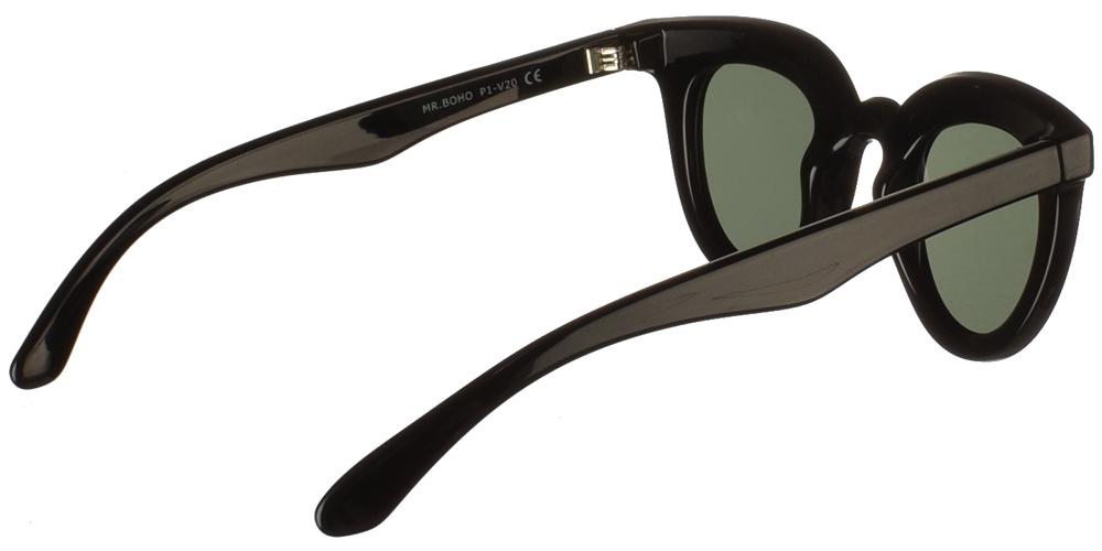 Γυναικεία κοκάλινα γυαλιά ηλίου πεταλούδα Mr Boho Hayes VB-11 σε μαύρο σκελετό και σκούρους πράσινους φακούςγια όλα τα πρόσωπα.