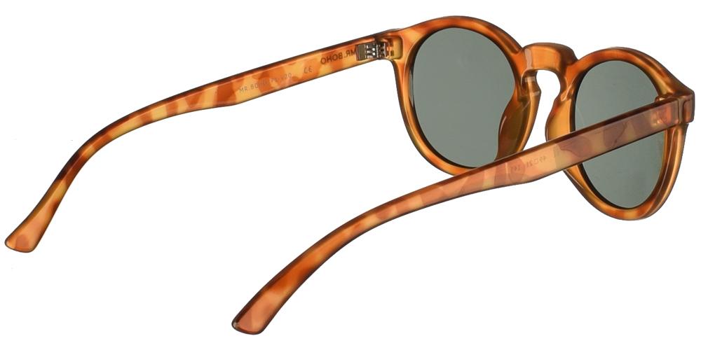 Στρογγυλά κοκάλινα ανδρικά και γυναικεία γυαλιά ηλίου Mr Boho Jordan AT18-11 σε ανοιχτόχρωμη καφέ ταρταρούγα και σκούρους πράσινους φακούςγια όλα τα πρόσωπα.