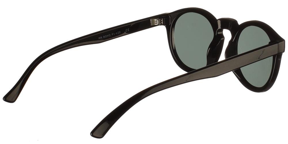 Στρογγυλά κοκάλινα ανδρικά και γυναικεία γυαλιά ηλίου Mr Boho Jordan AB-11 σε μαύρο σκελετό και σκούρους πράσινους φακούςγια όλα τα πρόσωπα.