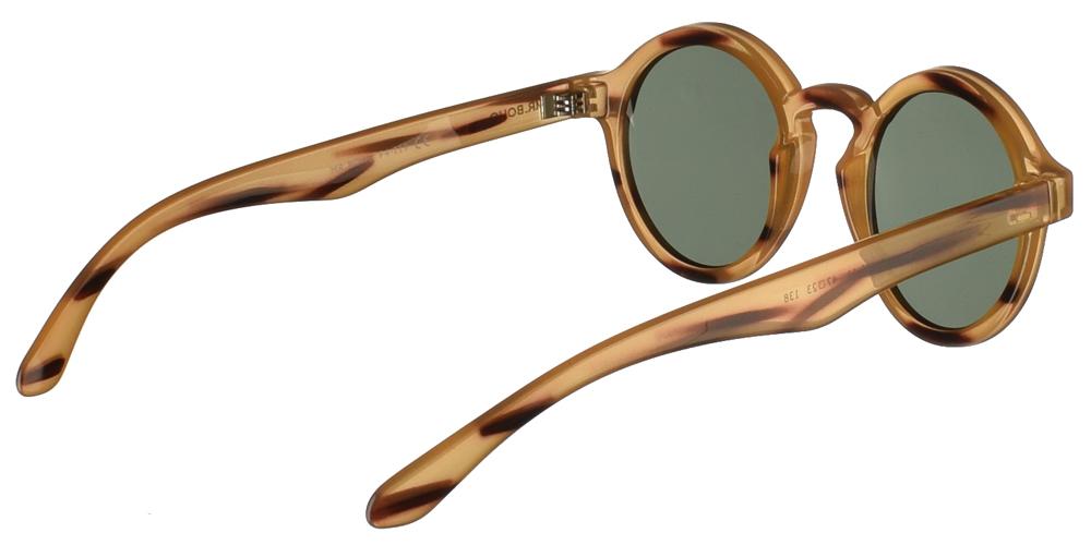 Στρογγυλά κοκάλινα ανδρικά και γυναικεία γυαλιά ηλίου Mr Boho Dalston RT20-11 σε ανοιχτόχρωμο καφέ σκελετό, με σκουρόχρωμες λεπτομέρειες και πράσινους φακούς.