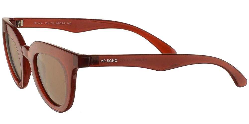 Γυναικεία κοκάλινα γυαλιά ηλίου πεταλούδα Mr Boho Hayes V14-08 σε κόκκινο σκελετό και σκούρους καφέ φακούςγια όλα τα πρόσωπα.