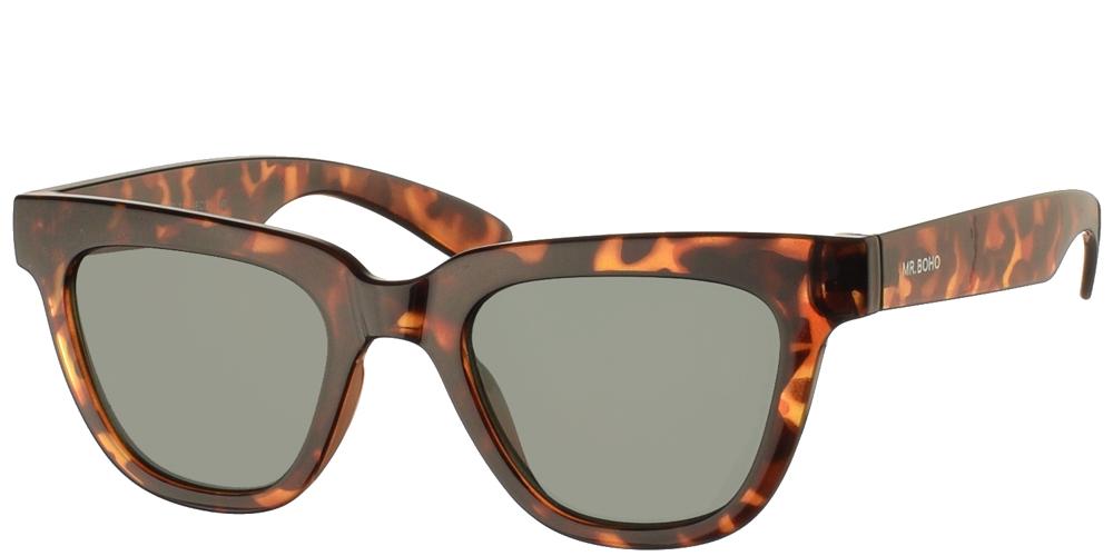 Τετράγωνα κοκάλινα ανδρικά και γυναικεία γυαλιά ηλίου Mr Boho Letras AIT1-11 σε σκουρόχρωμη καφέ ταρταρούγα και πράσινους φακούςγια μικρά και μεσαία πρόσωπα.