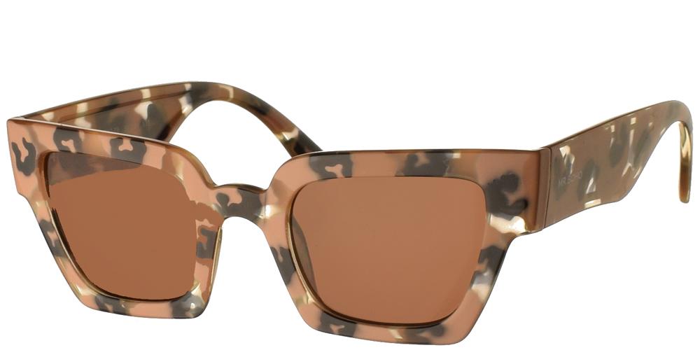 Τετράγωνα κοκάλινα ανδρικά και γυναικεία γυαλιά ηλίου Mr Boho Frelard ZT17-08 σε μπεζ-καφέ χρώμα, με πολύχρωμες λεπτομέρειες και σκούρους καφέ φακούς.