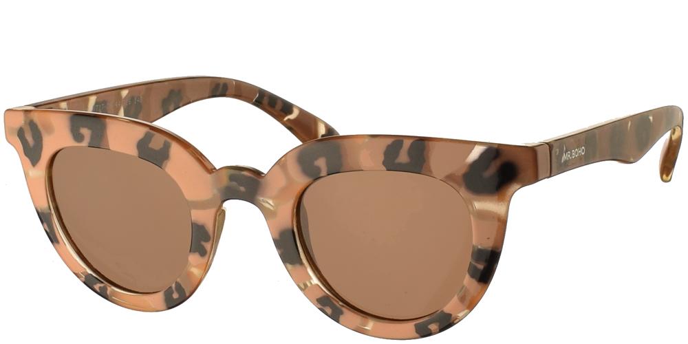 Γυναικεία κοκάλινα γυαλιά ηλίου πεταλούδα Mr Boho Hayes VT17-08 σε μπεζ-καφέ χρώμα, με πολύχρωμες λεπτομέρειες και σκούρους καφέ φακούςγια όλα τα πρόσωπα.