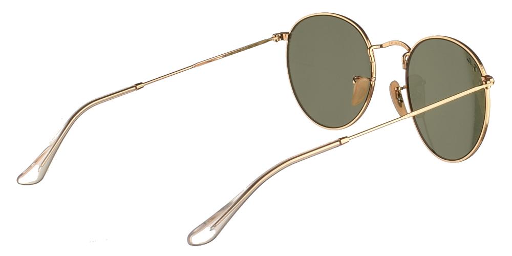 Διαχρονικά στρογγυλά μεταλλικά γυαλιά ηλίου Ray Ban RB3447 Round Metal 001 50 σε χρυσό σκελετό και πράσινους κρυστάλλουςγια μικρά και μεσαία πρόσωπα.