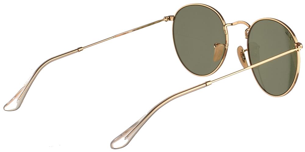 Διαχρονικά στρογγυλά μεταλλικά γυαλιά ηλίου Ray Ban RB3447 Round Metal 001 53 σε χρυσό σκελετό και πράσινους κρυστάλλουςγια μεσαία και μεγάλα πρόσωπα.