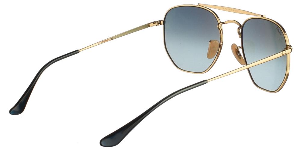 Τετράγωνα μεταλλικά ανδρικά και γυναικεία γυαλιά ηλίου Ray Ban RB3648 The Marshal 9102/3M σε καφέ ταρταρούγα και μπλε ντεγκραντέ κρυστάλλους για όλα τα πρόσωπα.