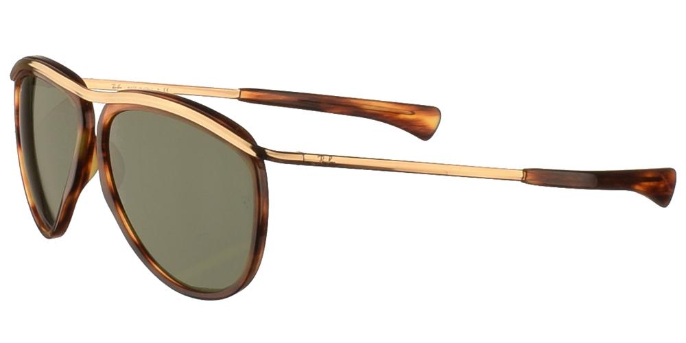 Διαχρονικά aviator γυαλιά ηλίου Ray Ban RB 2219 Olympian Aviator 954/31 σε καφέ ταρταρούγα και πράσινους κρυστάλλουςγια μεσαία και μεγάλα πρόσωπα.