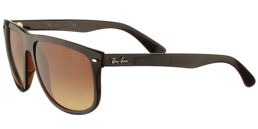 Τετράγωνα κοκάλινα κλασικά ανδρικά γυαλιά ηλίου Ray Ban RB4147 6095/85 σε καφέ ταρταρούγα και καφέ ντεγκραντέ φακούςγια μεσαία και μεγάλα πρόσωπα.