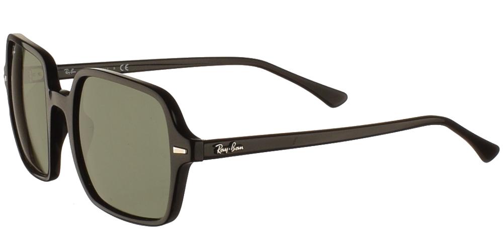 Διαχρονικά ανδρικά και γυναικεία τετράγωνα κοκάλινα γυαλιά ηλίου Ray Ban RB1973 Square II 901/31 σε μαύρο σκελετό και πράσινους κρυστάλλουςγια όλα τα πρόσωπα.