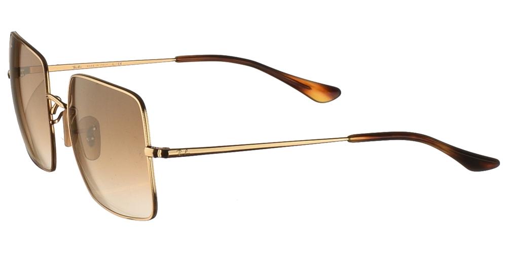 Γυναικεία μεταλλικά τετράγωνα γυαλιά ηλίου Ray Ban RB1971 Square 9147/51 σε χρυσό σκελετό και καφέ ντεγκραντέ κρυστάλλουςγια όλα τα πρόσωπα.