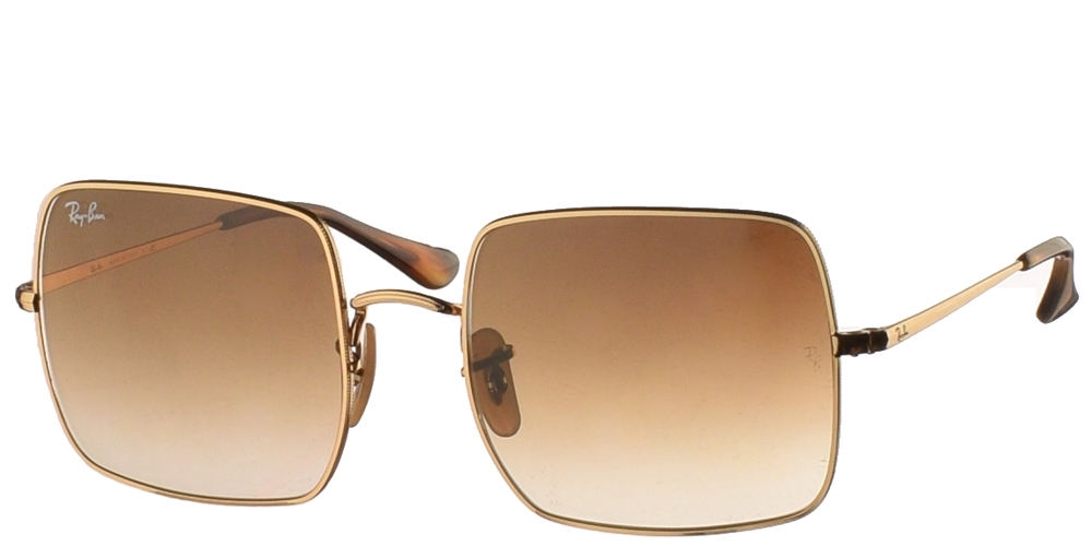 Γυναικεία μεταλλικά τετράγωνα γυαλιά ηλίου Ray Ban RB 1971 9147/51 Square σε χρυσό σκελετό και καφέ ντεγκραντέ κρυστάλλουςγια όλα τα πρόσωπα.