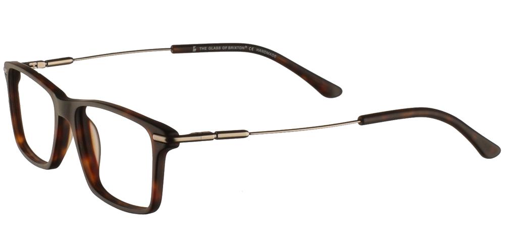 Τετράγωνα κοκάλινα γυαλιά οράσεως Brixton Manos Dreams BF0078 C1 σε ματ σκουρόχρωμη καφέ ταρταρούγα και μεταλλικούς βραχίονεςγια όλα τα πρόσωπα.