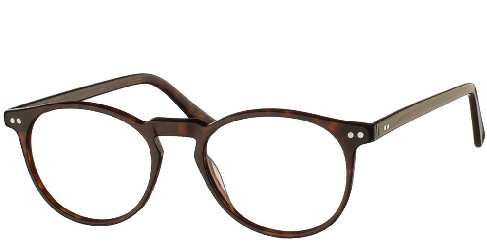 Στρογγυλά κοκάλινα ανδρικά και γυναικεία γυαλιά οράσεως Brixton BF 115 01 σε σκουρόχρωμη καφέ ταρταρούγαγια μικρά και μεσαία πρόσωπα.