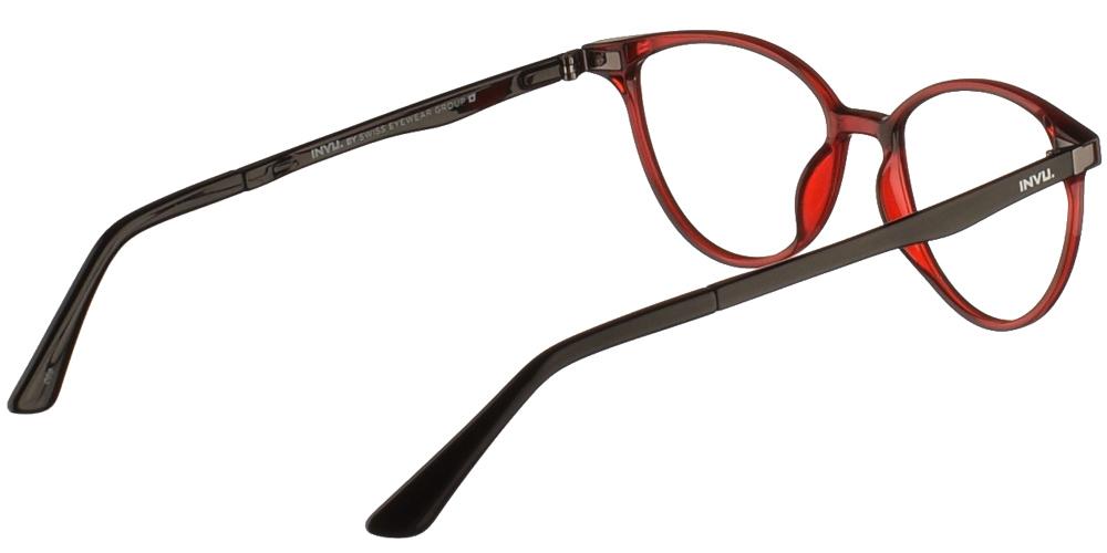 Γυναικεία κοκάλινα πεταλούδα γυαλιά οράσεως Invu G4002 A Clip On με κόκκινο σκελετό με αποσπώμενο clip on με φακό γκρι polarizedγια μικρά και μεσαία πρόσωπα.