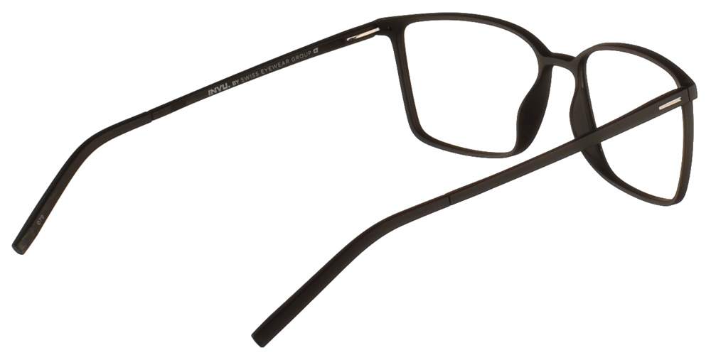 Τετράγωνα κοκάλινα ανδρικά και γυναικεία γυαλιά οράσεως Invu B4918 A σε μαύρο ματ σκελετό για μεσαία και μεγάλα πρόσωπα.