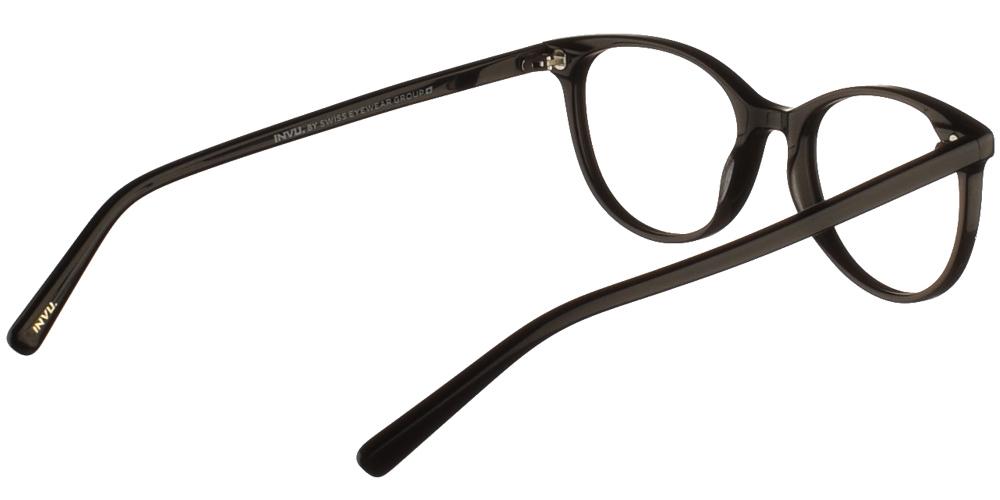 Γυναικεία κοκάλινα σε σχήμα πεταλούδα γυαλιά οράσεως Invu B4012 A με μαύρο σκελετόγια μικρά και μεσαία πρόσωπα.
