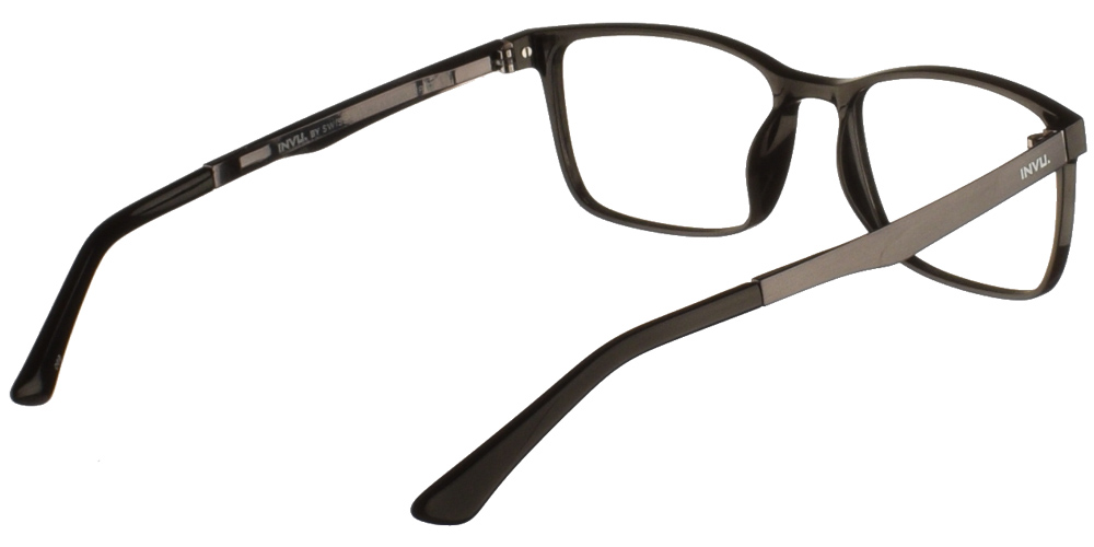 Τετράγωνα κοκάλινα ανδρικά και γυναικεία γυαλιά οράσεως Invu B4002 A σε μαύρο σκελετό με ασημί μεταλλικούς βραχίονες για μεσαία και μεγάλα πρόσωπα.
