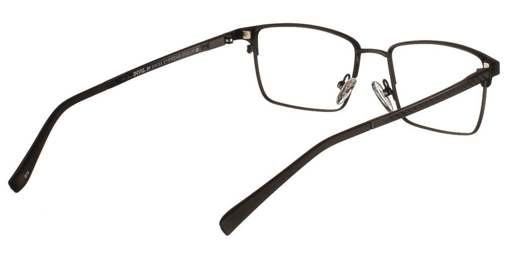 Μεταλλικά τετράγωνα nylor γυαλιά οράσεως Invu G3001 A Clip On σε μαύρο ματ σκελετόμε αποσπώμενο clip on με φακό γκρι polarized για μικρά και μεσαία πρόσωπα.