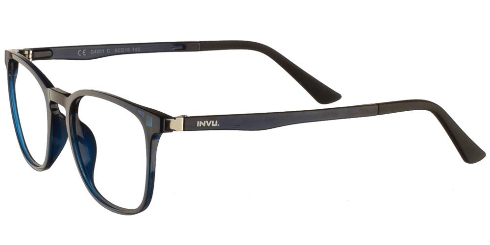 Τετράγωνα κοκάλινα ανδρικά και γυναικεία γυαλιά οράσεως Invu G4001 C Clip On σε μπλε σκελετό με αποσπώμενο clip on με φακό γκρι polarizedγια όλα τα πρόσωπα.