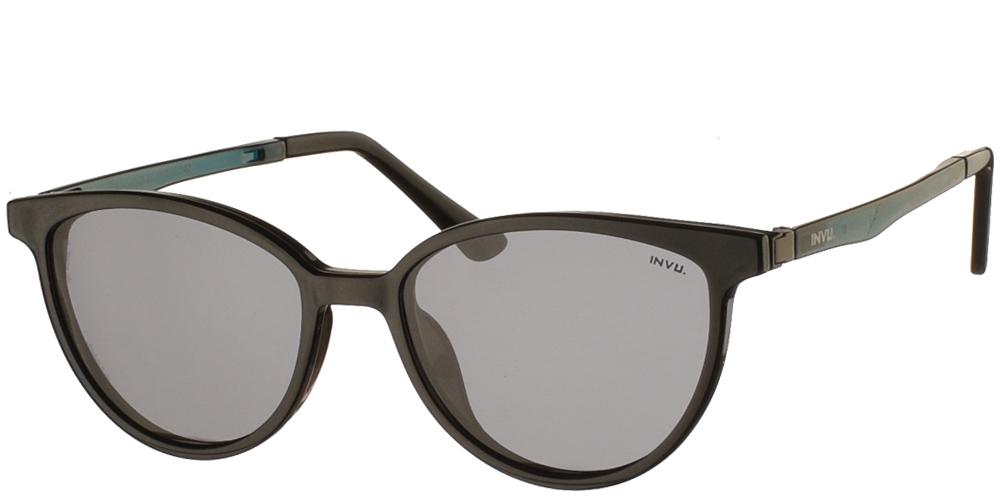 Γυναικεία κοκάλινα γυαλιά οράσεως Invu G4002 B Clip On σε μαύρο και πράσινο σκελετό με αποσπώμενο clip on με φακό γκρι polarizedγια μικρά και μεσαία πρόσωπα.
