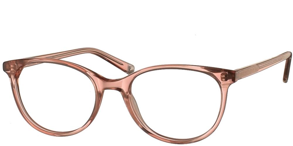 Γυναικεία κοκάλινα σε σχήμα πεταλούδα γυαλιά οράσεως Invu B4012 C με ανοιχτόχρωμο ροζ σκελετό για μικρά και μεσαία πρόσωπα.