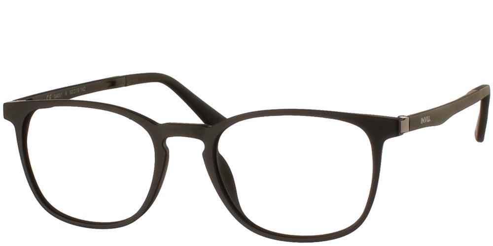 Τετράγωνα κοκάλινα γυαλιά οράσεως Invu G4703 A Clip On σε μαύρο ματ σκελετό με αποσπώμενο clip on με φακό γκρι polarized για μικρά και μεσαία πρόσωπα.