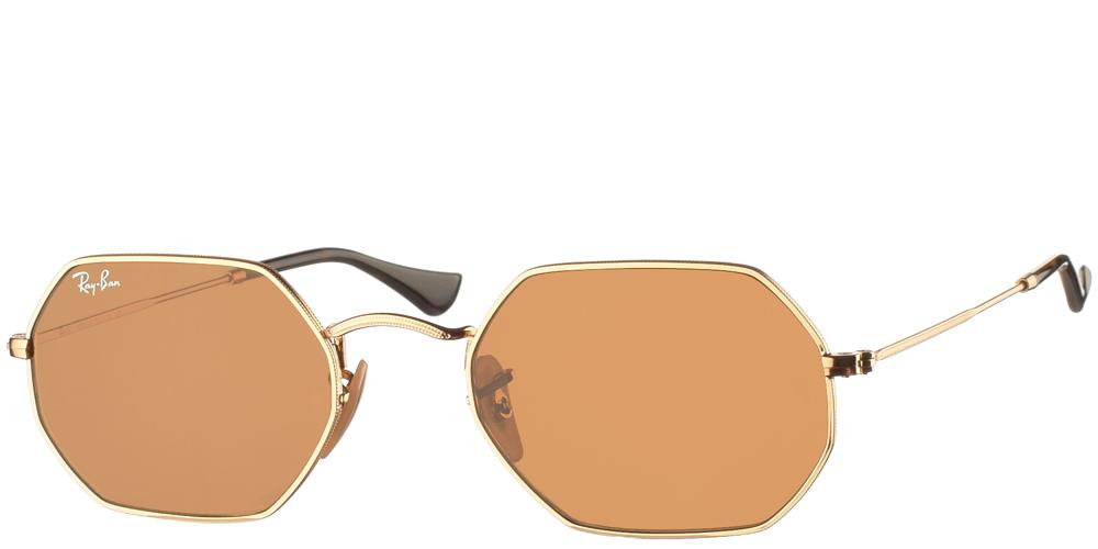 Μεταλλικά πολυγωνικά ανδρικά και γυναικεία γυαλιά ηλίου Ray Ban RB 3556-Ν Octagonal σε χρυσό σκελετό και επίπεδους καφέ κρυστάλλουςγια μικρά και μεσαία πρόσωπα.