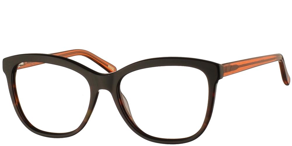 Γυναικεία κοκάλινα σε σχήμα πεταλούδα γυαλιά οράσεως Invu 4994 σε σκουρόχρωμη ταρταρούγα με καφέ βραχίονες για όλα τα πρόσωπα.