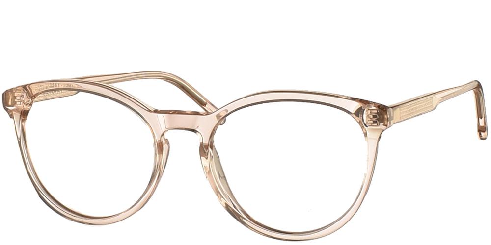 Γυναικεία κοκάλινα γυαλιά οράσεως Komono Althea Champagne σε ανοιχτόχρωμο απαλό ροζ σκελετόγια όλα τα πρόσωπα.