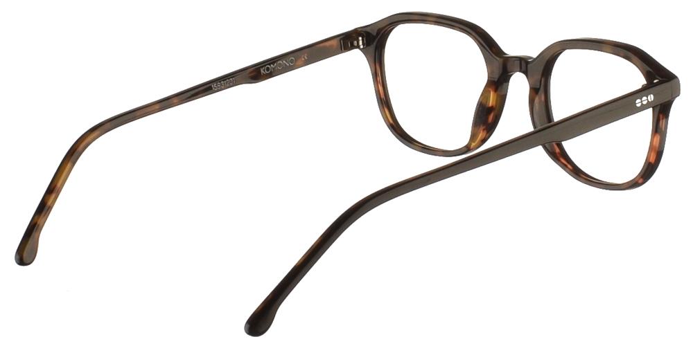 Κοκάλινα ανδρικά και γυναικεία γυαλιά οράσεως Komono Colin Black Tortoise σε μαύρη ταρταρούγαγια μικρά και μεσαία πρόσωπα.