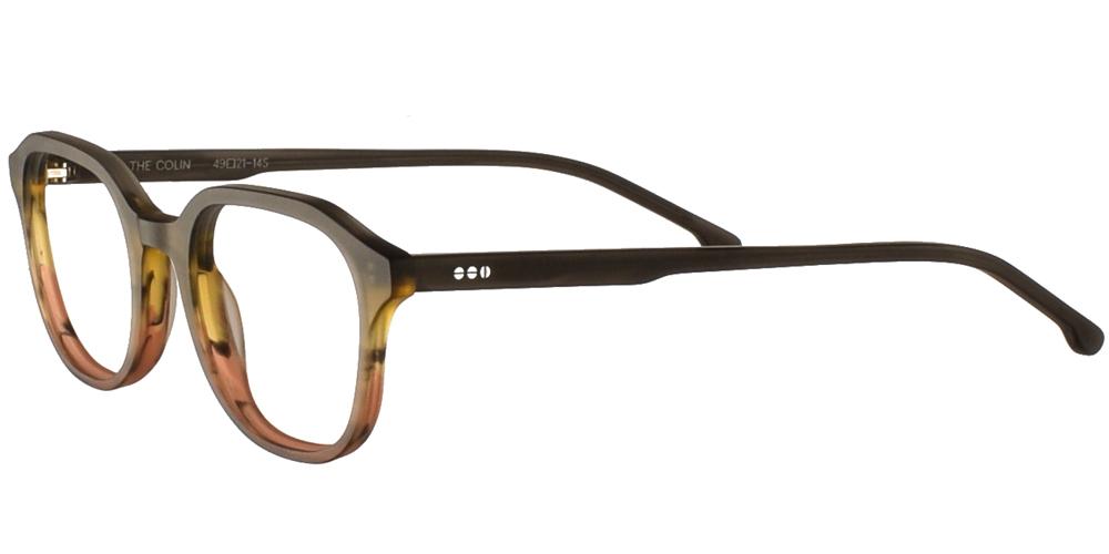 Κοκάλινα ανδρικά και γυναικεία γυαλιά οράσεως Komono Colin Matte Canyon σε matte γκρι και κεραμιδί ντεγκραντέ σκελετόγια μικρά και μεσαία πρόσωπα.