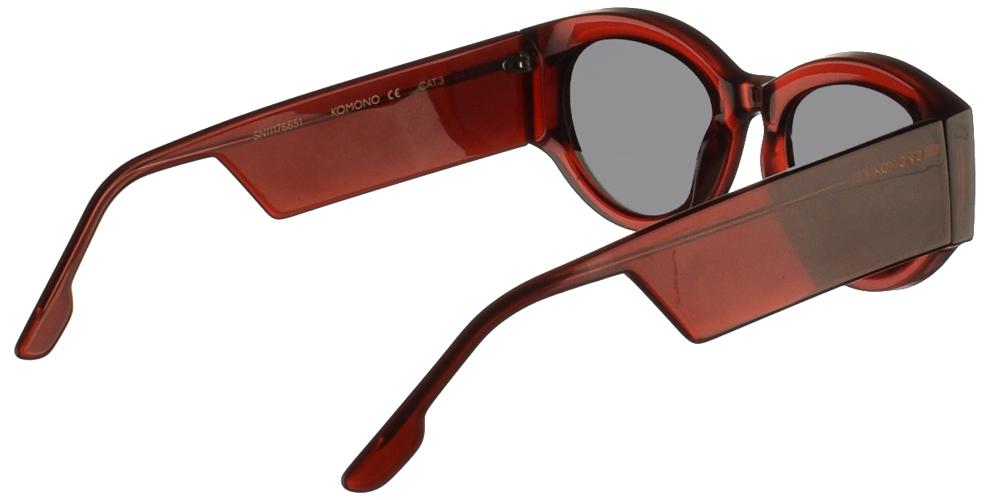 Κοκάλινα ανδρικά και γυναικεία γυαλιά ηλίου Komono Dax Burgundy σε μπορντώ σκελετό και επίπεδους γκρι φακούςγια όλα τα πρόσωπα.