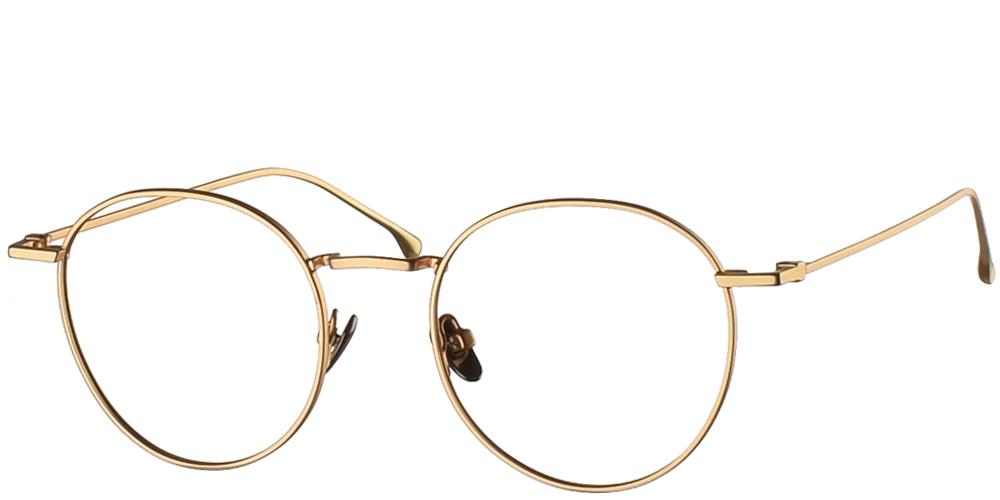 Μεταλλικά στρογγυλά ανδρικά και γυναικεία γυαλιά οράσεως Komono Dean Gold σε χρυσό σκελετόγια όλα τα πρόσωπα.