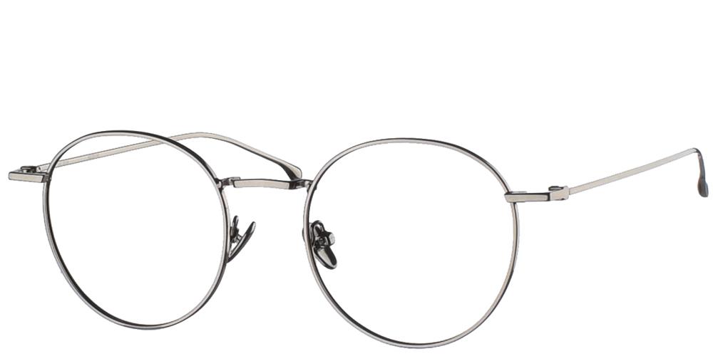 Μεταλλικά στρογγυλά ανδρικά και γυναικεία γυαλιά οράσεως Komono Dean Gun Glossy σε ασημί σκελετόγια όλα τα πρόσωπα.